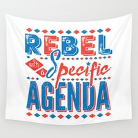 rebel Wall Tapestries featuring Rebel by Word Quirk
