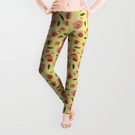Poppies Hand-Painted Watercolors in Rose Pink on Citron Yellow Leggings