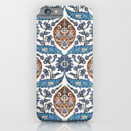 Iznik Tile Pattern Blue White Brown iPhone Case