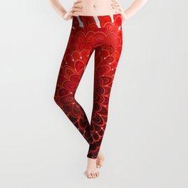 Red Flower Mandala Leggings