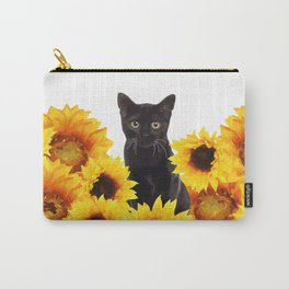 Sunflower Black Cat Carry-All Pouch