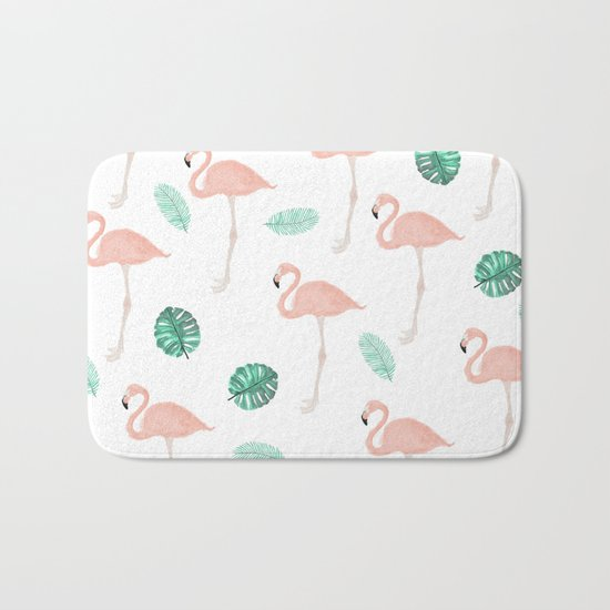 Hand painted pastel  pink flamingo tropical leaf watercolor pattern Bath Mat