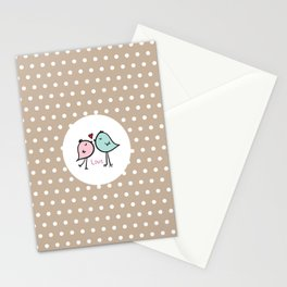 Love Birds with Beige Pattern Stationery Cards