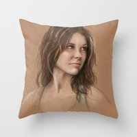 kate bishop Throw Pillows featuring Kate by Jackie Sullivan