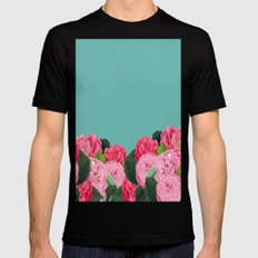 Floral & Turquoise MEDIUM Mens Fitted Tee Black