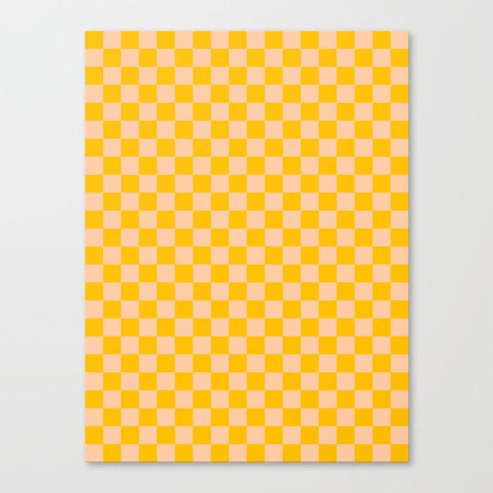 Deep Peach Orange and Amber Orange Checkerboard Leinwanddruck