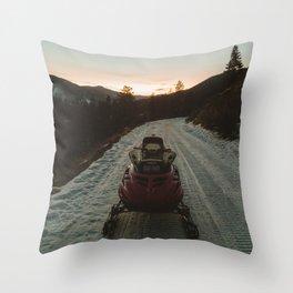 Snow Mobile Throw Pillow