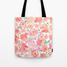 Watercolor Peonies Summer Bouquet Tote Bag