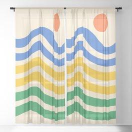Colorful Sun and Seascape 4 Sheer Curtain