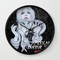 ahs Wall Clocks featuring AHS: Hotel  by Diego Guzman