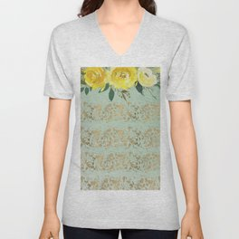 Mint green yellow gold watercolor geometrical floral Unisex V-Neck