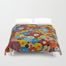 Mixed Flowers - Abstract Mixed Media Painting Duvet Cover