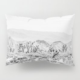 Joshua Tree // Black and White Vintage Desert Landscape Cactus Mountains Pillow Sham