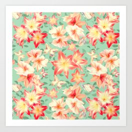 Spring Amaryllis and Butterflies Art Print