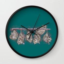 Possum Family - Teal Wall Clock