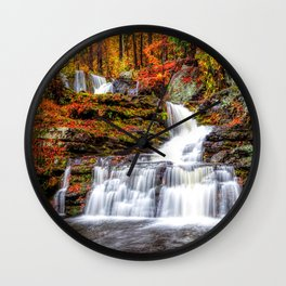 Autumn Waterfall Wall Clock