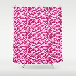 Wild Animal Print, Zebra in Fuchsia Pink and White Shower Curtain