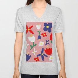 Large Handdrawn Bacchanal Floral Pop Art Print Unisex V-Neck