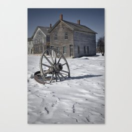 Wagon wheel in winter at the mining ghost town at Fayette Canvas Print