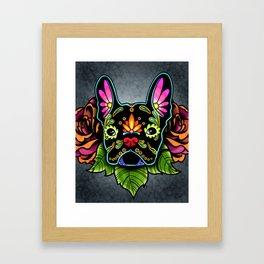 French Bulldog in Black - Day of the Dead Bulldog Sugar Skull Dog Framed Art Print