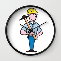 engineer Wall Clocks featuring Engineer Architect T-Square Cartoon by patrimonio