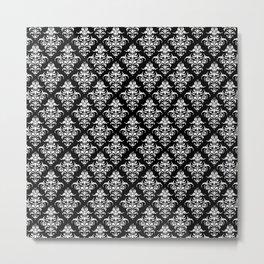 Damask Pattern   Black and White Metal Print