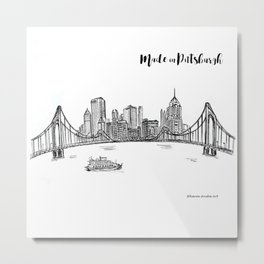 Ink Sketch Pittsburgh Skyline Metal Print