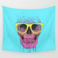 glasses Wall Tapestries featuring Pop art skull with glasses by Balazs Solti