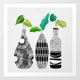 Black and White Tribal Vases Art Print