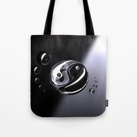 ying yang Tote Bags featuring Ying Yang by SensualPatterns
