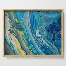 High Tide - Abstract Acrylic Art by Fluid Nature Serving Tray