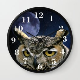 Owl and Blue Moon Wall Clock