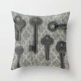 Skelton Key Gray Black Throw Pillow