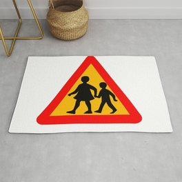Children Crossing Traffic Sign Isolated Rug