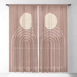 Mid Century Modern Geometric 3 (Terrocatta and beige) Sheer Curtain
