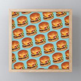 Cheeseburger Pattern 4 - Blue Framed Mini Art Print