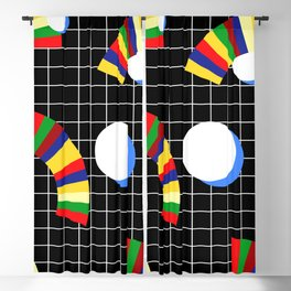 Memphis Grid & Rainbows Blackout Curtain