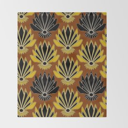 ART DECO YELLOW BLACK COFFEE BROWN AGAVE ABSTRACT Throw Blanket