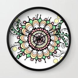 Doodle Art Flower Medallion - Pink Green Wall Clock