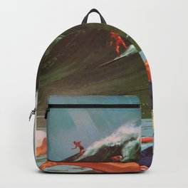 1964 Vintage Hawaii Surfing Poster by Chas Allen Backpack