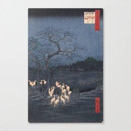 Utagawa Hiroshige - New Year's Eve Foxfires at the Changing Tree Canvas Print