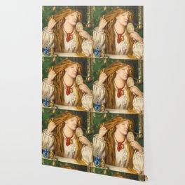 "Dante Gabriel Rossetti ""A woman combing her hair"" Wallpaper"