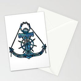 Anchor and Steering Helm [Multicolored 2] Stationery Cards