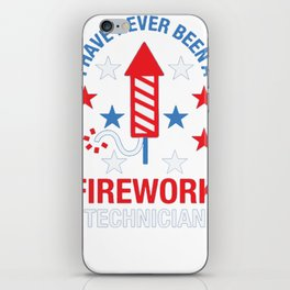 FIREWORK TECHNICIAN RED WHITE AND BLUE T-SHIRT iPhone Skin