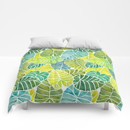 Tropical Leaves Alocasia Elephant Ear Plant Blue Green Comforters