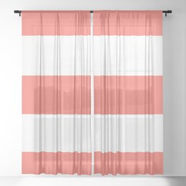 Thick Bold Living Coral and White Stripes Pattern Sheer Curtain
