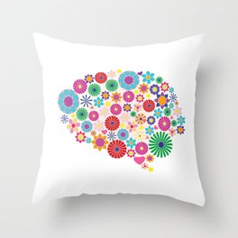 Flower brain Throw Pillow