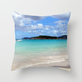 Watercolor Landscape Cinnamon Bay Beach 02, This is the Life! Throw Pillow