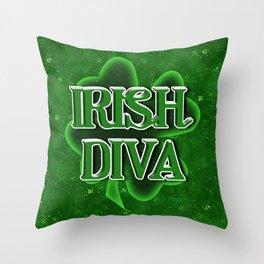 Irish Diva - St Patrick's Day Clover Throw Pillow