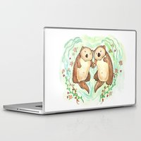 otters Laptop & iPad Skins featuring Otters Holding Hands by Georgia Dunn